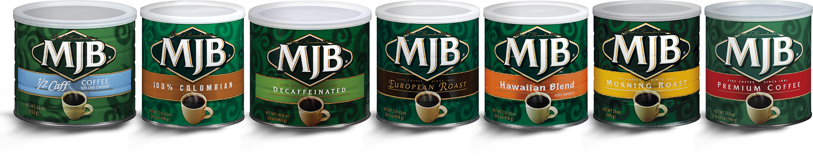 Group of MJB Coffee Cans